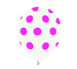 - Pembe Puantiyeli Şeffaf Balon 12 inç (25x30 cm) 100'lü Paket
