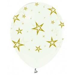 - Altın Yıldız Baskılı Şeffaf Balon 12 inç (25x30 cm) 100'lü Paket