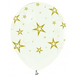 - Altın Yıldız Baskılı Şeffaf Balon 12 inç (25x30 cm) 14'lü Paket