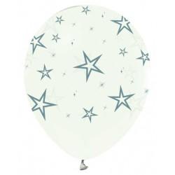 - Gümüş Yıldız Baskılı Şeffaf Balon 12 inç (25x30 cm) 100'lü Paket