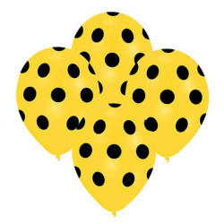 - Sarı Puantiyeli Siyah Balon 12 inç (25x30 cm) 100'lü Paket