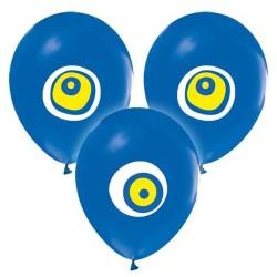 - Nazar Boncuklu Lacivert Balon 12 inç (25x30 cm) 100'lü Paket