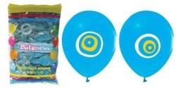 - Nazar Boncuklu Mavi Balon 12 inç (25x30 cm) 100'lü Paket