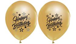 - Balon Baskılı 2+1 Happy Bırthday Sparklıng Metalik Altın Pk:100 Kl:50