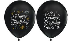 - Balon Baskılı 2+1 Happy Bırthday Sparklıng Siyah Pk:100 Kl:50