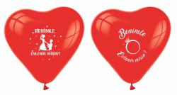 - Benimle Evlenirmisin Kalp Şeklinde Kırmızı Balon 12 inç (25x30 cm) 100'lü Paket