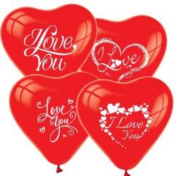 - I Love You Kalp Şeklinde Kırmızı Balon 12 inç (25x30 cm) 100'lü Paket