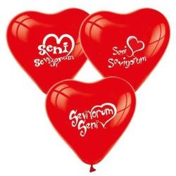 - Seni Seviyorum Kalp Şeklinde Kırmızı Balon 12 inç (25x30 cm) 10'lu Paket