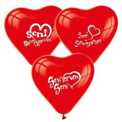 - Seni Seviyorum Kalp Şeklinde Kırmızı Balon 12 inç (25x30 cm) 100'lü Paket