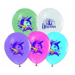 - Unicorn Baskılı 4+1 Balon 12 inç (25x30 cm) 12'li Paket