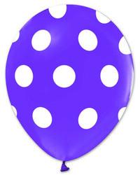 - Balon Çepeçevre Beyaz Puantiyeli Lila K:14 Kl:48