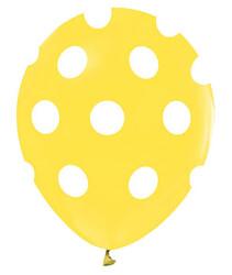 - Balon Çepeçevre Beyaz Puantiyeli Sarı Pk:100 Kl:50