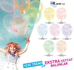 Balon Düz 12 İnc Şeffaf Turuncu Pk:100 Kl:50 - Thumbnail