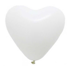 - Kalp Şekilli Beyaz Balon 12 inç (25x30 cm) 100'lü Paket