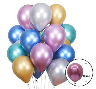 Krom Parlak Gümüş Balon 16 inç (30x40 cm) 50'li Paket