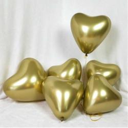 - Parlak Krom Kalp Altın Balon 16 inç (30x40 cm) 50'li Paket