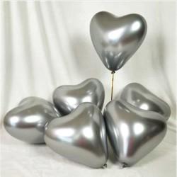 - Parlak Krom Kalp Gümüş Balon 16 inç (30x40 cm) 50'li Paket