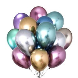 - Krom Parlak Balon Karışık Renkli 16 inç (30x40 cm) 50'li Paket