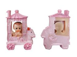 Kız Bebek Faytonda Pembe Biblo - Thumbnail