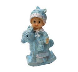 Erkek Bebek At Üstünde Mavi Biblo - Thumbnail