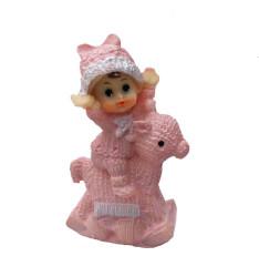 - Kız Bebek At Üstünde Pembe Biblo