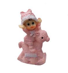 Kız Bebek At Üstünde Pembe Biblo - Thumbnail