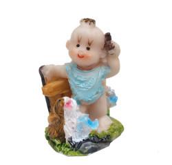 - Bahçede Bebek Küçük Mavi Biblo