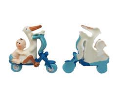 Bisikletli Ve Leylekli Bebek Mavi Biblo - Thumbnail