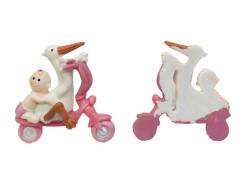 Bisikletli Ve Leylekli Bebek Pembe Biblo - Thumbnail