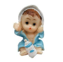 Bornozlu Oturan Bebek Mavi Biblo