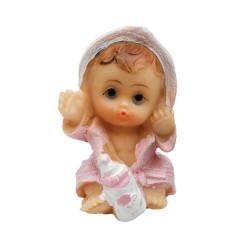 Bornozlu Oturan Bebek Pembe Biblo - Thumbnail