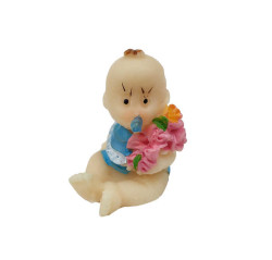 - Çiçekli Bebek Mavi Biblo