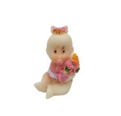 - Çiçekli Bebek Pembe Biblo
