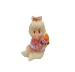 Çiçekli Bebek Pembe Biblo - Thumbnail