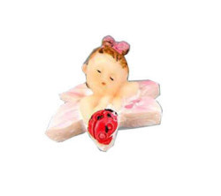 Çiçekli Ve Uğur Böcekli Bebek Pembe Biblo - Thumbnail