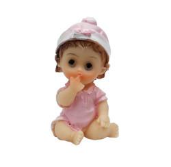 Civcivli Ve Şapkalı Bebek Pembe Biblo - Thumbnail