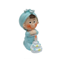 Doğum Günü Pastalı Bebek Mavi Biblo - Thumbnail