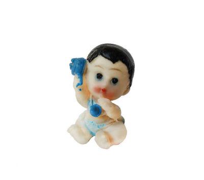 Çıngıraklı Bebek Mavi Biblo
