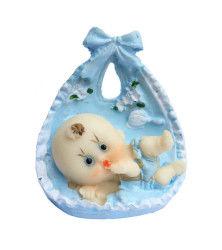 Fiyonklu Büyük Bebek Mavi Biblo