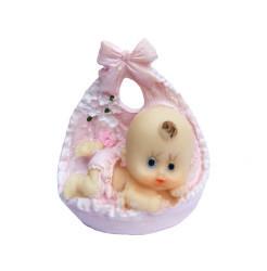 Fiyonklu Büyük Bebek Pembe Biblo - Thumbnail