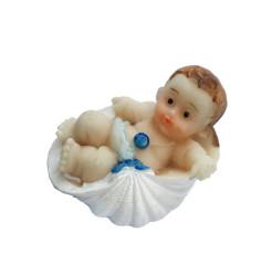- İstiridye İçinde Bebek Mavi Biblo 50 Adet