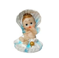 - İstiridye İçinde Bebek Mavi Biblo 20 Adet