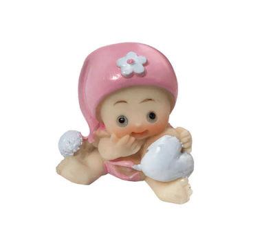 Kalpli Şapkalı Bebek Pembe Biblo