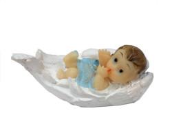 Kanat İçinde Bebek Mavi Biblo 20 Adet - Thumbnail