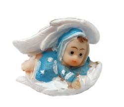 - Kanat İçinde Bebek Mavi Biblo 50 Adet