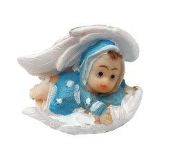 Kanat İçinde Bebek Mavi Biblo 50 Adet