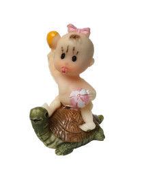 Kaplumbağa Üstünde Bebek Pembe Biblo