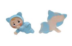 - Kedi Kostümlü Bebek Mavi Biblo