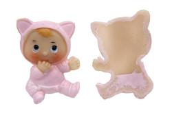- Kedi Kostümlü Bebek Pembe Biblo