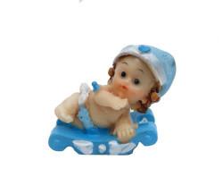 Kızakta Bebek Mavi Biblo - Thumbnail